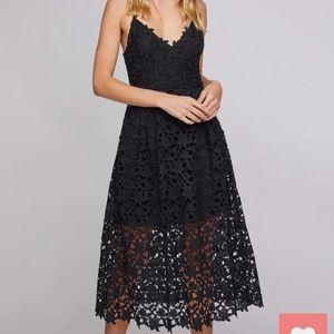 Astr Black Lace A Line Midi Dress